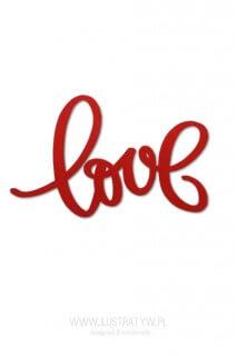 Czerwony napis LOVE