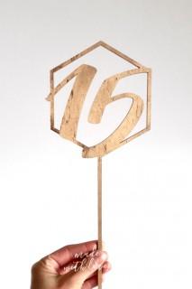 Numer stółu na patyku - heksagon